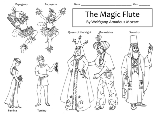 mozarts magic flute character coloring page